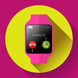 Modern smart watch icon. Flat design style