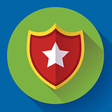 shield icon with star - protection symbol. Flat design style.
