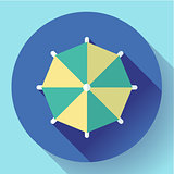 Beach umbrella, top view icon. Vector. Flat design style.