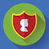 shield icon with male profile - protection symbol. Flat design style.