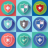 Security shield icon set - protection symbols. Flat design style.