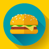 hamburger icon with long shadow. Flat design style.