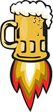 Beer Mug Rocket Ship Blasting Retro