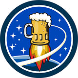 Beer Mug Rocket Ship Space Circle Retro