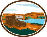 RV Camper Van Desert Scene Oval Retro
