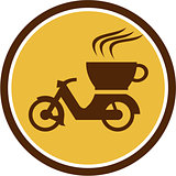 Coffee Delivery Motorcycle Circle Retro