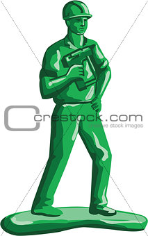 Green Construction Worker Nailgun Retro