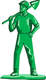 Green Miner Holding Shovel Retro