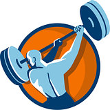 Weightlifter Swinging Barbell Back View Circle Retro