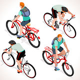 Boy Teen Cycling Isometric People