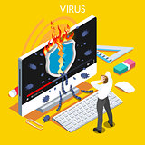 Computer Virus Isometric People