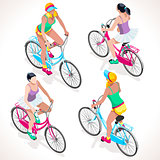 Girl Teen Cycling Isometric People