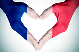 heart patterned with the flag of France