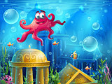 Atlantis ruins cartoon octopus - vector background  illustration