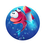 Underwater cartoon funny fish with rocket