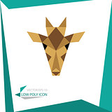 low poly animal icon. vector giraffe