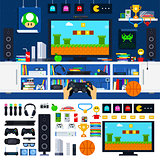 Gamer room interior with gadgets