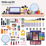 Make up kit on the table