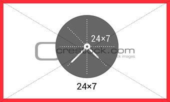 Around clock linear pictogram