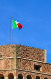 italy flag on an old fortress