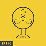 The fan icon. fan, ventilator, blower, propeller symbol. Flat Vector illustration. yellow icon