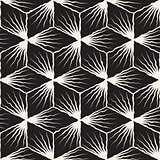 Vector Seamless Hand Painted Geometric SunBurst Lines Cubic Pattern