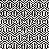 Vector Seamless Hand Painted Concentric Hexagon Line Geometric HoneyComb Pattern