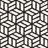 Vector Seamless  Hand Painted Line Geometric Cubic Pavement Pattern
