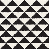 Vector Seamless  Hand Painted Line Geometric Triangles Checker Pattern