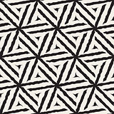 Vector Seamless Hand Painted Line Geometric Hexagonal Stars Pattern
