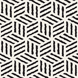 Vector Seamless Hand Painted Line Geometric Stripes Cube Pattern