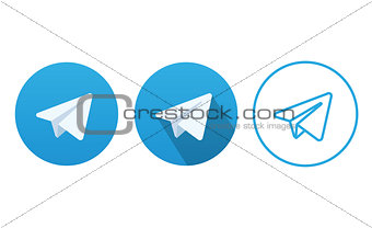 Aircraft Blue Button Icon Vector