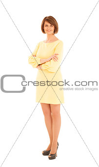 Portrait of attractive adult woman in yellow dress