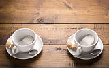 Set of two ceramic tea mugs with sachet