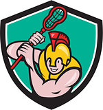 Gladiator Lacrosse Player Stick Crest Cartoon