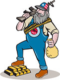 Hillbilly Man Rifle Gold Bars Money Bag Cartoon