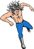 Man Big Hair Jumping Cartoon