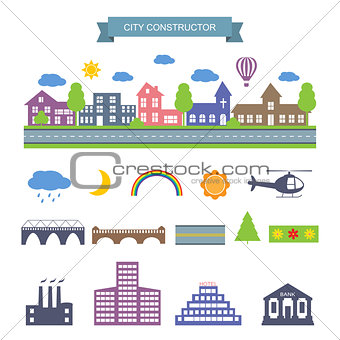 City constructor icons set.