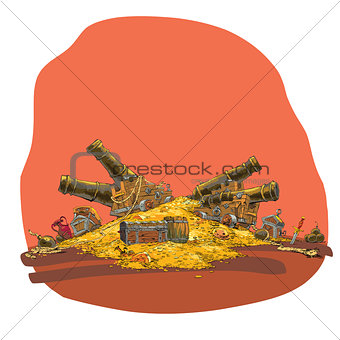 Treasure of gold coins and pirate cannon