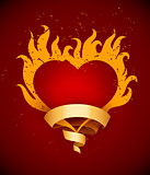 Burning heart with fire flames and ribbon