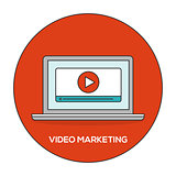 Video marketing outline flat concept