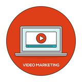Video marketing outline flat concept