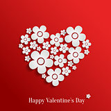 Valentine`s day heart of white flowers
