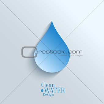 Abstract Paper Water Drop on Blue Background.