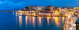 Panorama night Venetian quay, Chania, Crete