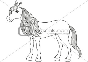 Charming cartoon horse with long golden mane and tail, coloring book page