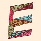 Vintage monogram E. Doodle colorful alphabet character