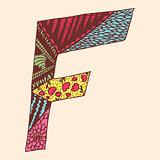 Vintage monogram F. Doodle colorful alphabet character