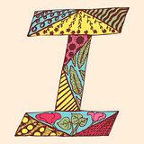Vintage monogram I. Doodle colorful alphabet character