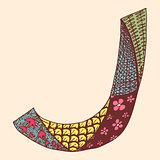 Vintage monogram J. Doodle colorful alphabet character